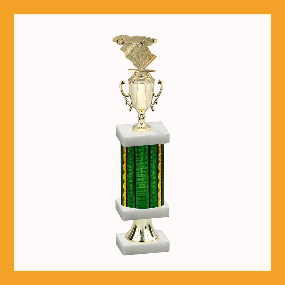 Pinewood Derby Column Pedestal Trophy With Cup