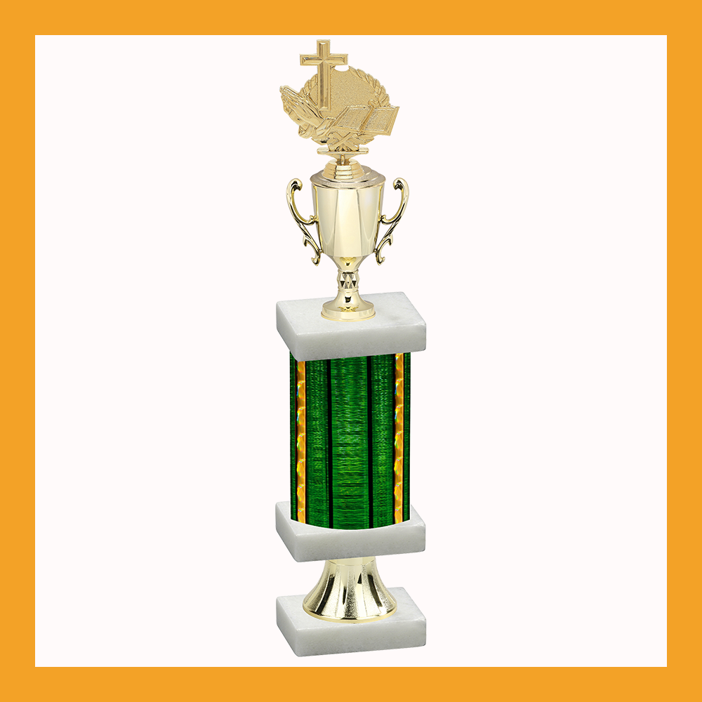 Religious Column Pedestal Trophy With Cup