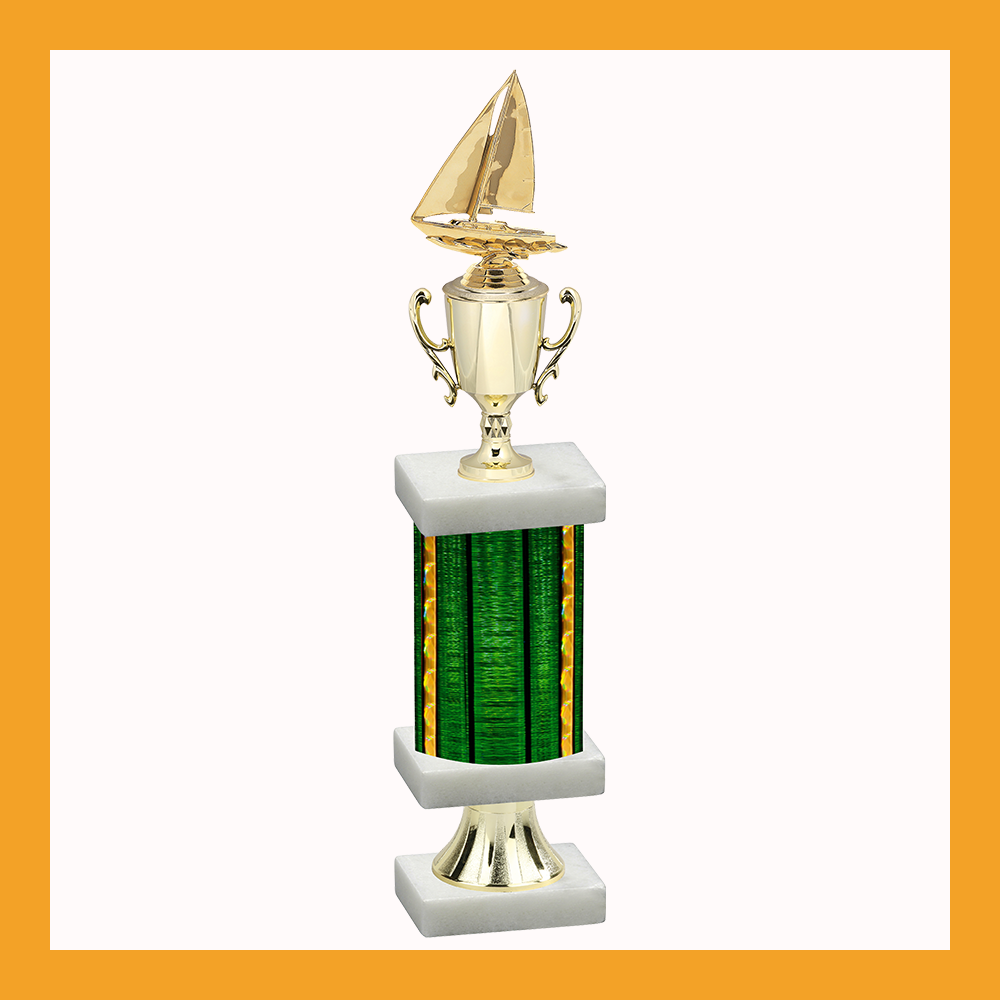 Sailing Column Pedestal Trophy With Cup