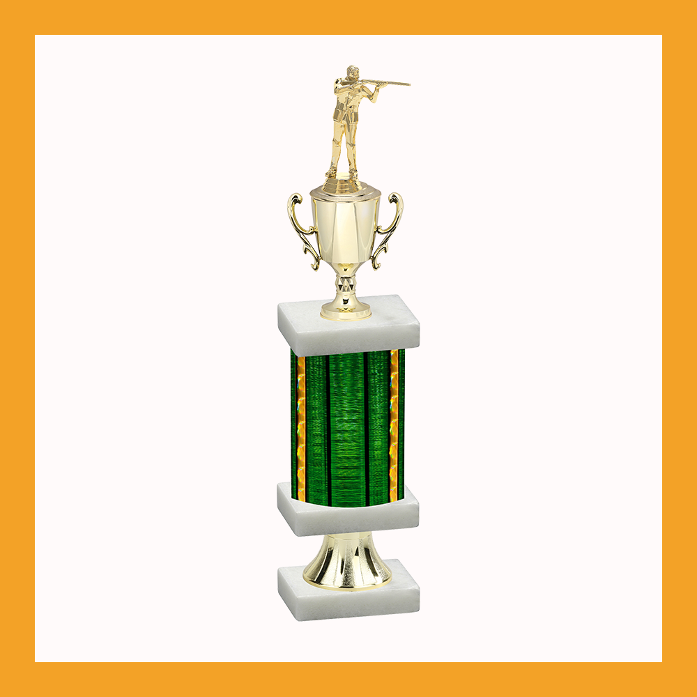Shooting Column Pedestal Trophy With Cup