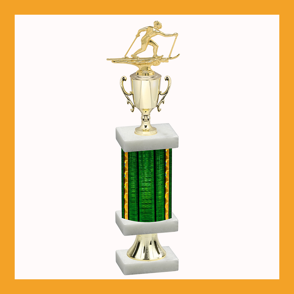 Skiing Column Pedestal Trophy With Cup
