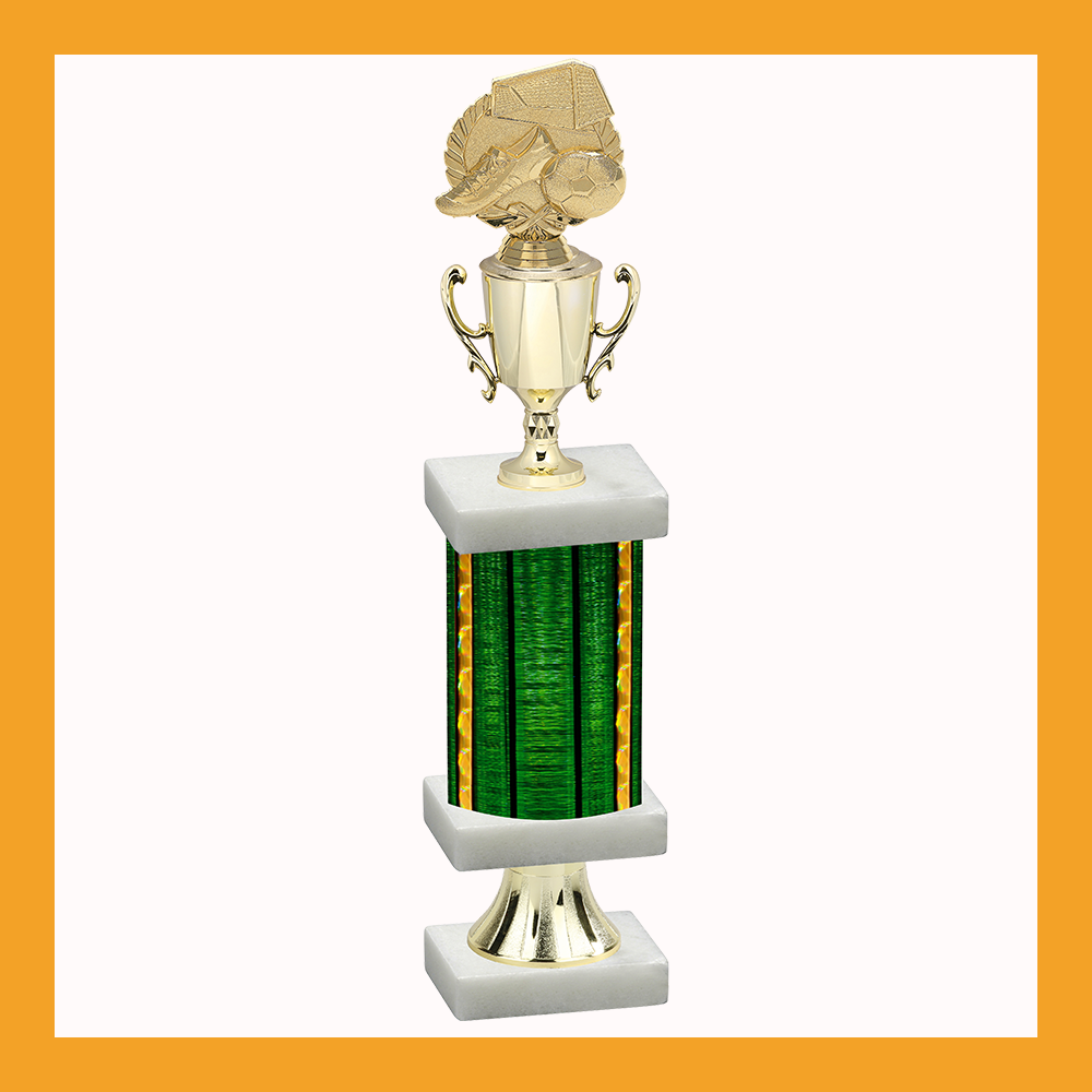 Soccer Column Pedestal Trophy With Cup