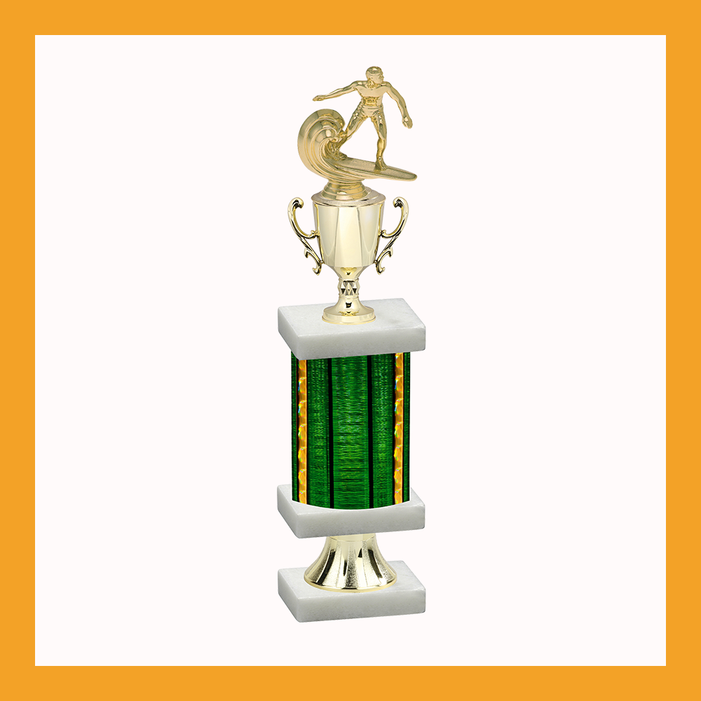 Surfing Column Pedestal Trophy With Cup