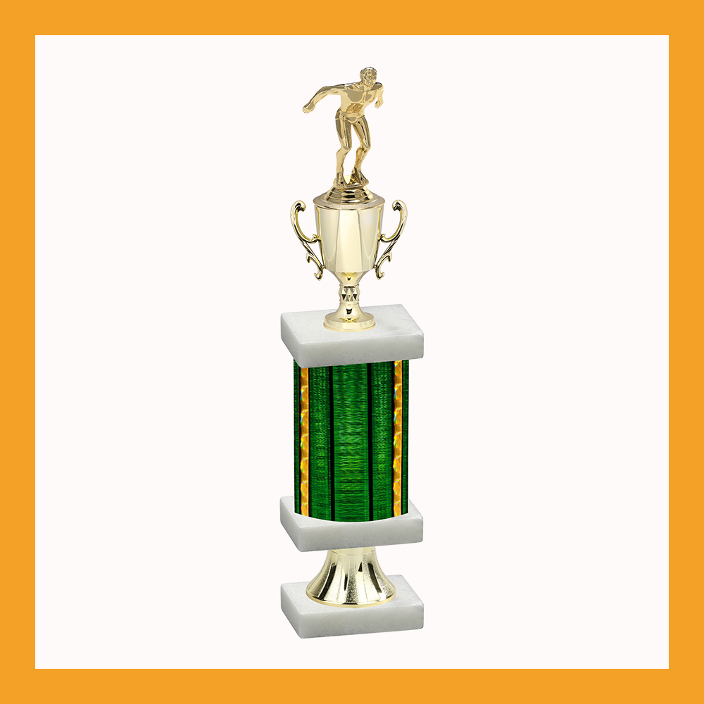 Swimming & Diving Column Pedestal Trophy With Cup
