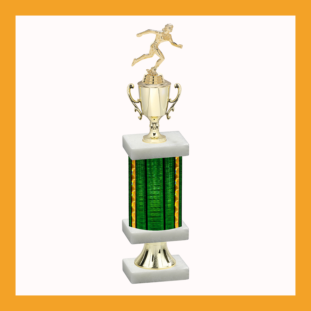 Track & Field Column Pedestal Trophy With Cup