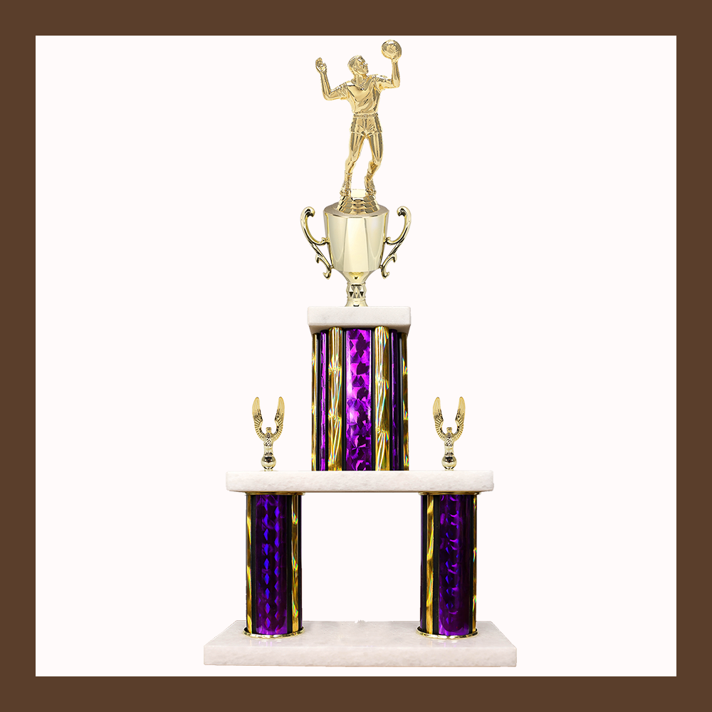 Volleyball Marble Mini Two Poster Trophy With Cup