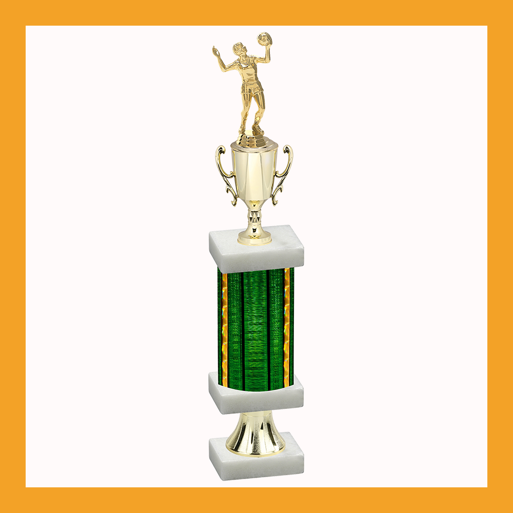 Volleyball Column Pedestal Trophy With Cup