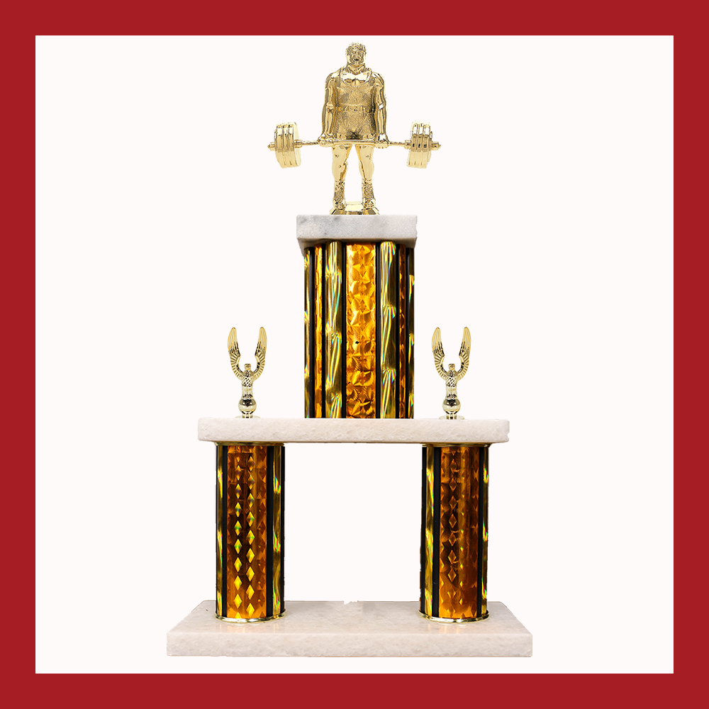 Weightlifting & Wrestling Marble Mini Two Poster Trophy