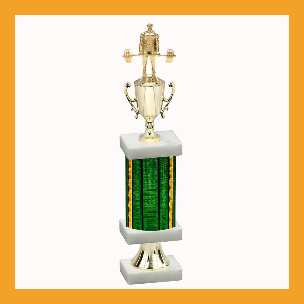 Weightlifting & Wrestling Column Pedestal Trophy With Cup