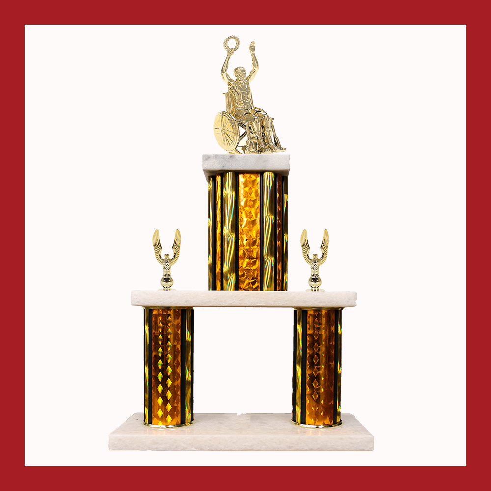 Wheelchair Marble Mini Two Poster Trophy