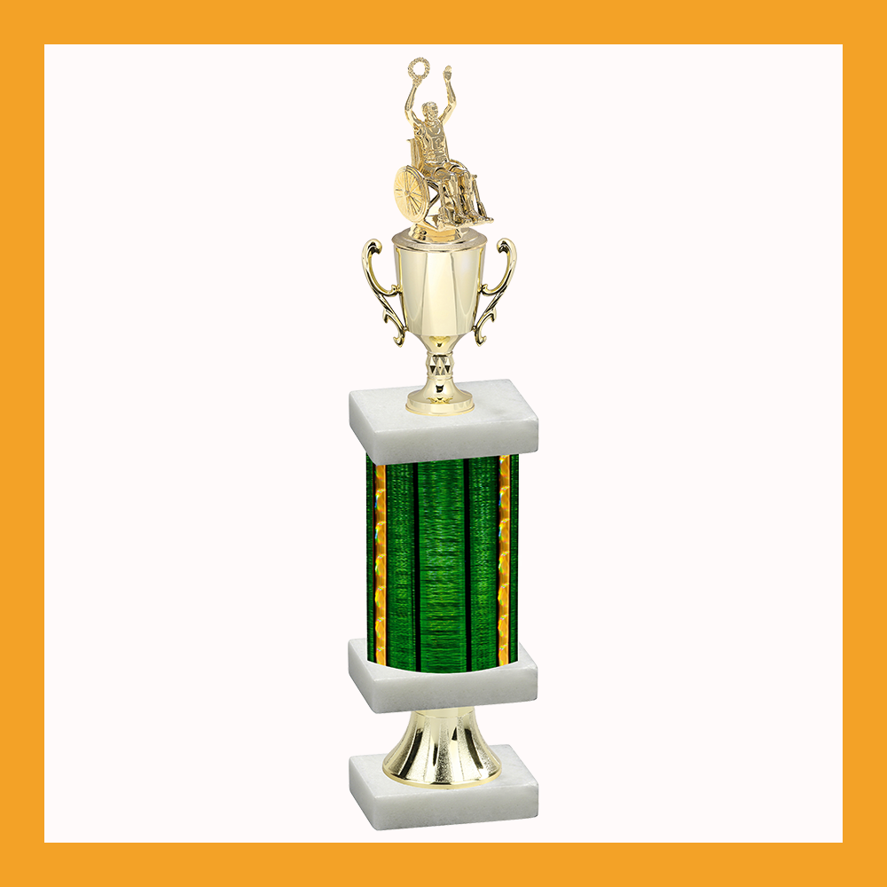 Wheelchair Column Pedestal Trophy With Cup