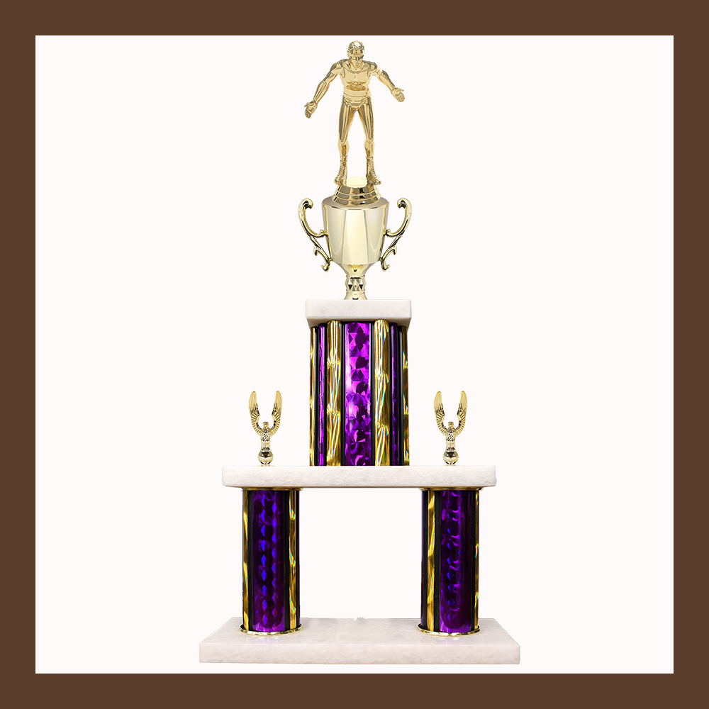Weightlifting & Wrestling Marble Mini Two Poster Trophy With Cup