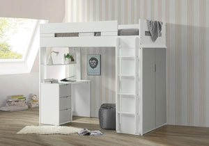 Nerice Twin/Workstation Bunkbed - White