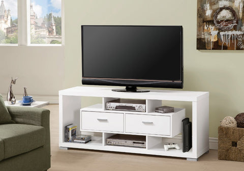 2 Drawer TV Console - White