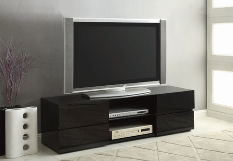 4 Drawer TV Console - Glossy Black
