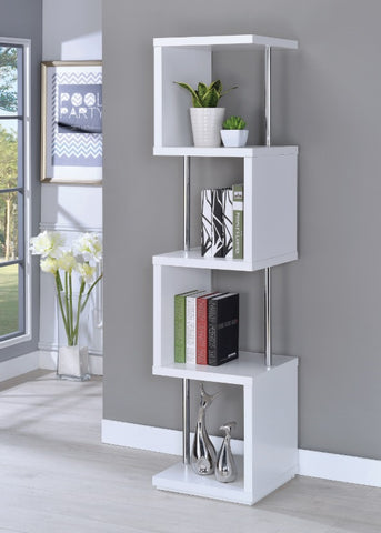 4 Shelf Bookcase - White/Chrome