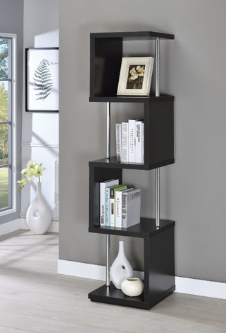 4 Shelf Bookcase - Black/Chrome