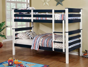 Lorren Twin/Twin Bunkbed - White/Blue