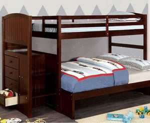 Appenzell Twin/Full Bunkbed w/ Step Storage - Espresso