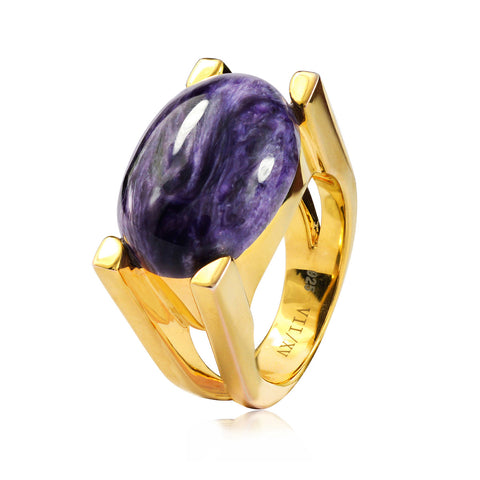 CHAROITE ART DECO RING