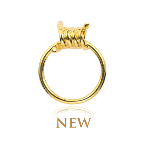 BARBED WIRE GOLD RING
