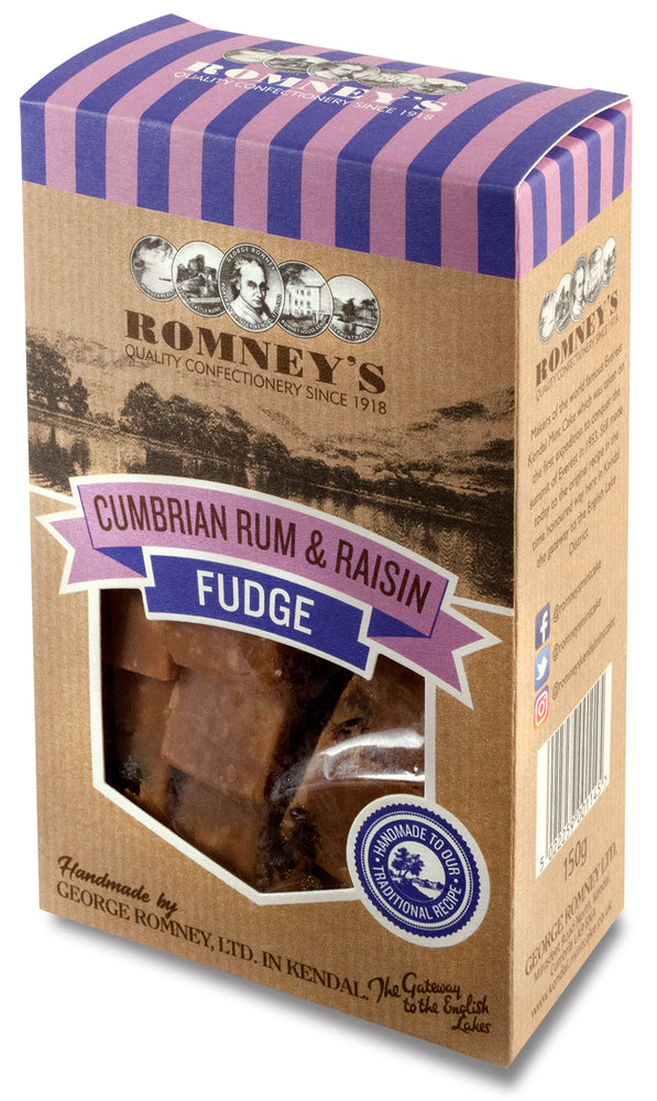 Hand Made Cumbrian Rum & Raisin Fudge Striped Gift Box