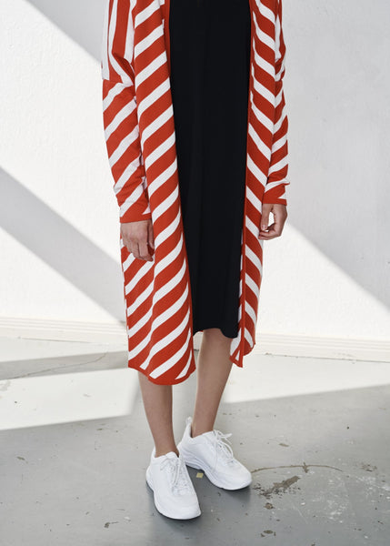 STRIPE LONG -neuletakki, Peppermint, naisten