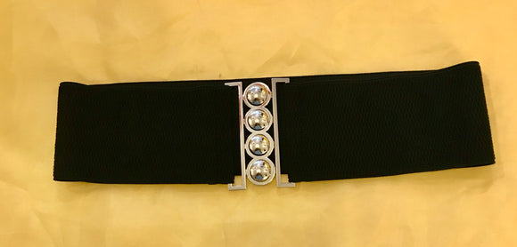Elasticated Belts with Silver Coloured Metal Buckle - 7230