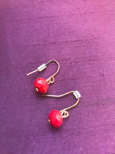 Earrings - Gold coloured Metal with Red Beads - 7165