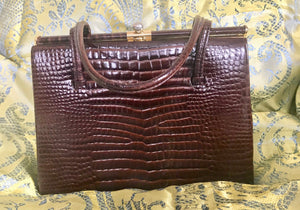 Handbag (Kelly Style), Crocodile Dark Brown Leather - 7133