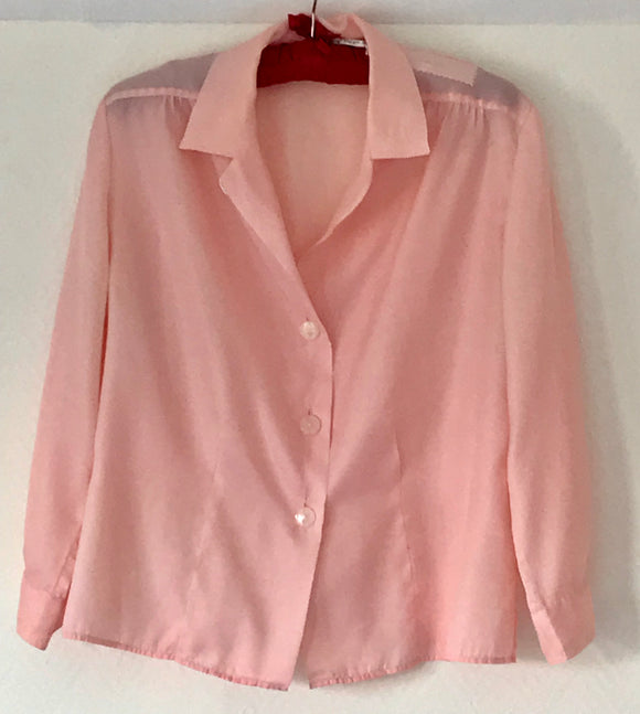 Blouse - 1960's Pink Nylon - 7076