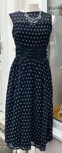 Dress - Navy & Ocra Polka Dot - 7148