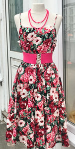 Dress - Floral Sundress With Spaghetti Straps - 7181