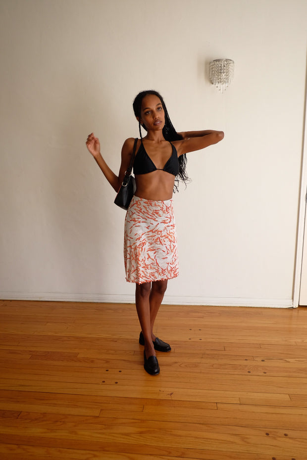 A Line Skirt with Briefs in Goldfish Printed Mesh