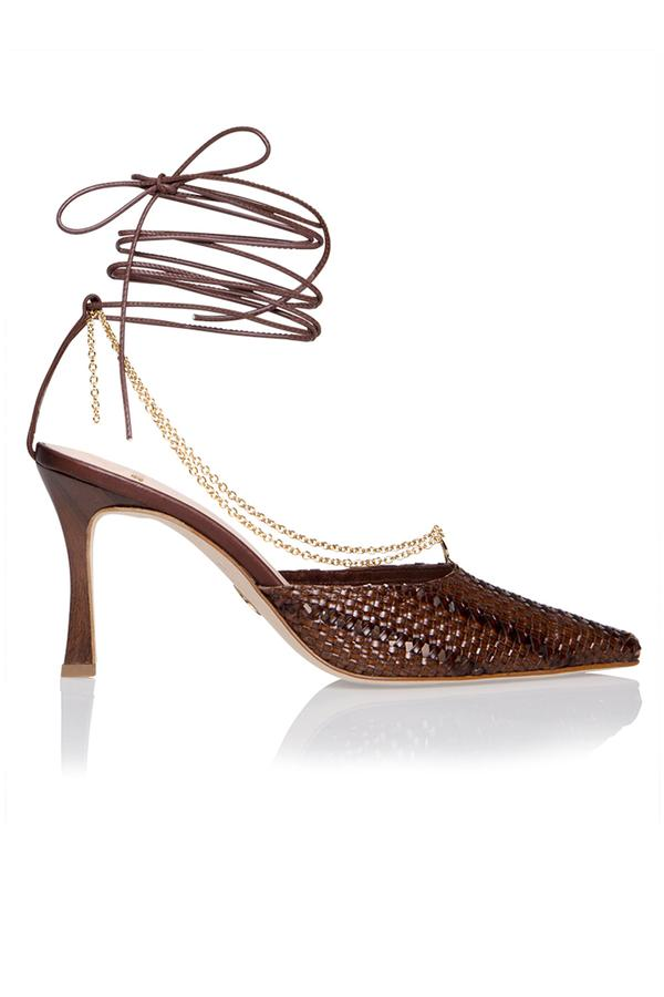 Woven Olivia Pump in Espresso Brown