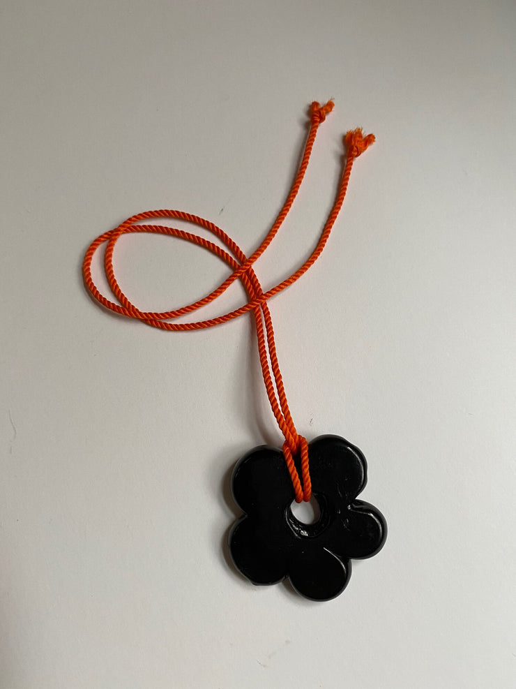 Big Flower Pendant in Black-Orange