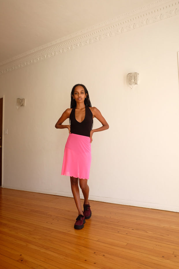 A Line Skirt with Briefs in Guava Mesh