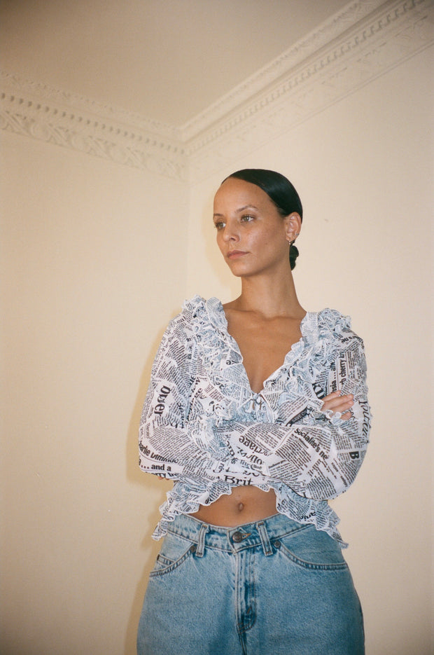 Mimi Mesh Top in Newsprint