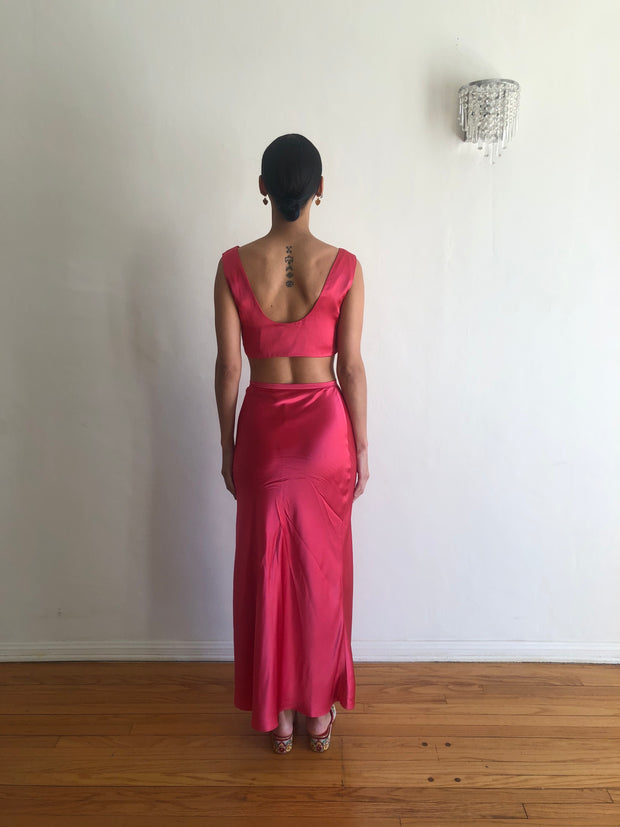 Yod Skirt in Hot Pink Satin
