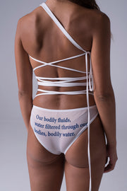 Wet Script Panties in White