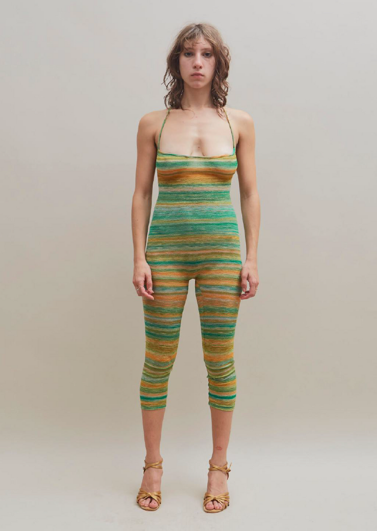 Bruised Jumpsuit in Green & Orange Stripe