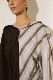 Cotton Twin Shirt in Brown Pinstripe & Multi Stripe