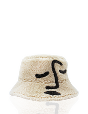 Shearling Face Hat in Cream