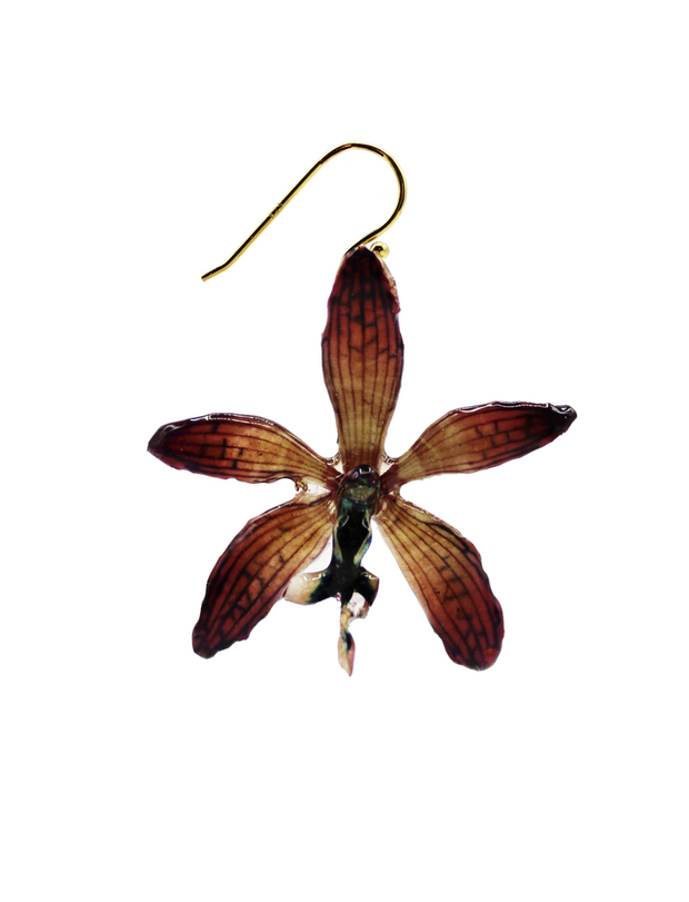 Violet Tiger Orchid Earrings