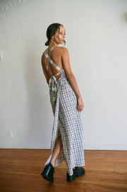 Plaid Cross Back Maxi Dress in Grey
