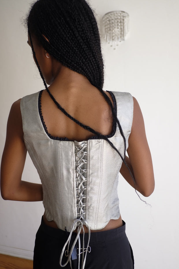 Ellis Reversible Corset Top in Dragon Tapestry and Iridescent Silver Brocade