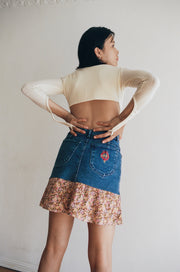 Denim Flounce Skirt in Floral