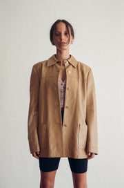 Vera Pelle Leather Coat in Tan