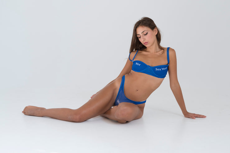 Wet Script Bra in Blue