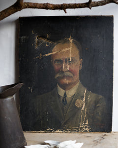 Antique oil painting of old gentleman